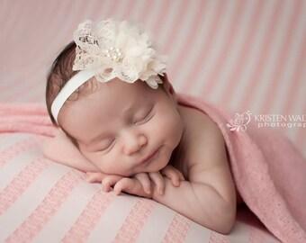 Soft ivory headband, baby girls headband, Chic Crystals, hair accessories, head band, pearl headband, photo prop, girls, lace headband pearl
