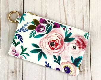 Oversized Floral Ring Clip Pouch