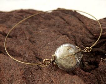 Dandelion Bangle Bracelet, Bangle for Small Wrists,Real Dandelion Seeds Bracelet, Real Flower Bangle, real Flower, Flower Jewelry