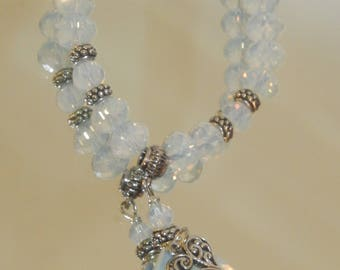 Faceted Opalite Tear drop and Heart Charm Bracelet