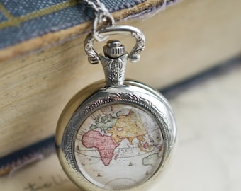 Old gypsy necklace etsy world map pocket watch necklace antique map necklace globe necklace vintage map necklace gumiabroncs Gallery