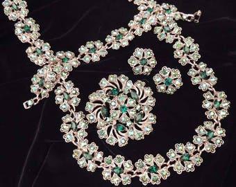 WEISS Green Rhinestone Necklace Set, 4 Piece Weiss Set, Vintage Weiss Full Parure Necklace Set, Weiss Necklace Earrings Brooch Bracelet Set