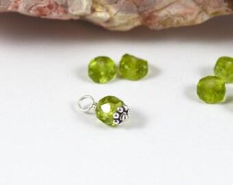 Small Peridot gemstone charm, 5x4mm rondelle, green August birthstone dangle, interchangeable Sterling Silver gemstone