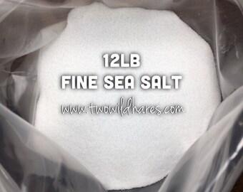 12LB. FINE SEA Salt, Food Grade, Fine Granulated, Two Wild Hares