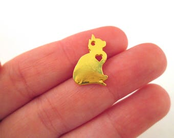 2 Gold Plated Cat Charms, Pet Pendant Charms #541