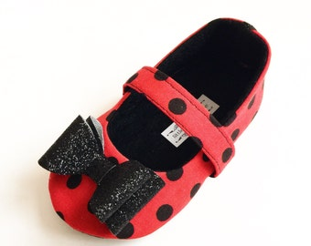 Baby Girl Shoes Toddler Girl Shoes Infant Shoes Soft Soled Shoes red and black polka dot Birthday Girl Shoes Black Glitter Bow Ladybug Lulu