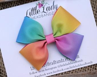 Rainbow Bow Unicorn Bow Rainbow hair bow girls ribbon bow large bow