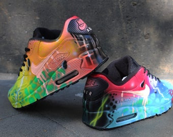 Custom Airbrush Painted Nike Air Max 90 Crazy Funky Colours *UNIKAT* ART