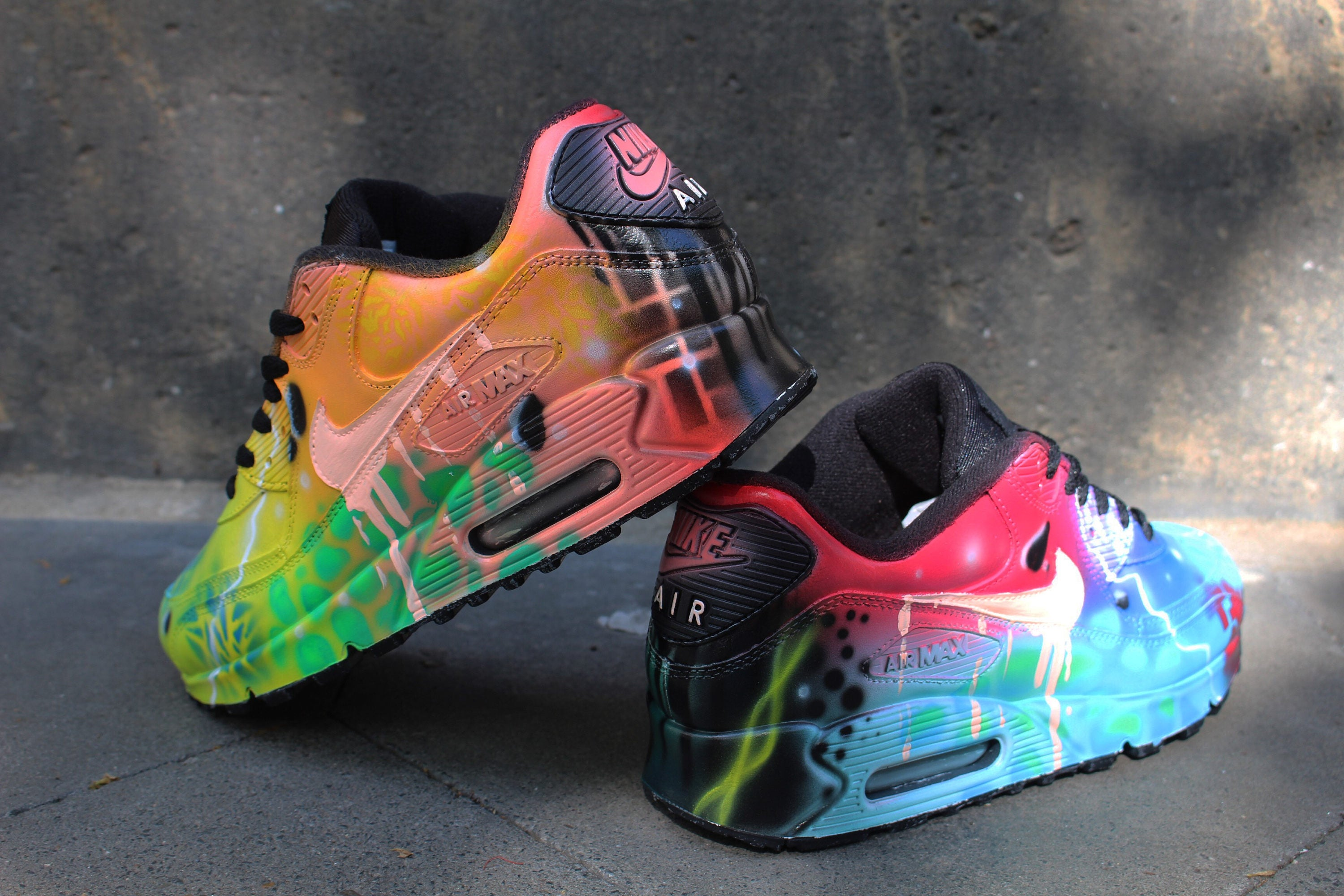 Custom Airbrush Painted Nike Air Max 90 Crazy Funky Colours