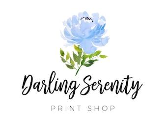 Peonies Logo, Wedding Logo, Blue Flowers Logo, Watercolor Logos, Signature Logo, Feminine Logo, Farmhouse Style, Business Logos, No. 25