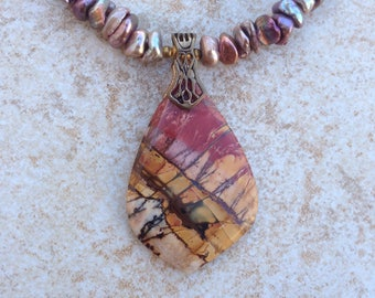 Red Creek Jasper Pendant and Pearl Necklace