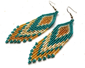 Sparkly boho seed bead fringe earrings Bohemian beaded earrings Dangle evening earrings Long hanging earrings for women Long dressy earrings