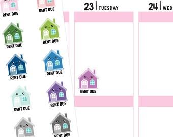 Rent Due Planner Stickers, Rent Stickers, Bill Stickers, Payment Stickers, Apartment Stickers