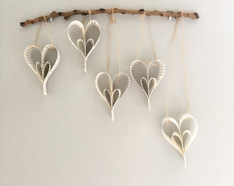 Handmade book love hearts rustic wall hanging