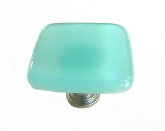 Light Aqua Blue Fused Glass Knob Hardware - Beach House Decor k11751