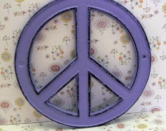Peace Sign Cast Iron Lavender Wall Art Shabby Chic Retro 70's Home Decor