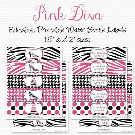 Water Bottle Labels Pink Diva Zebra Print Party Decorations