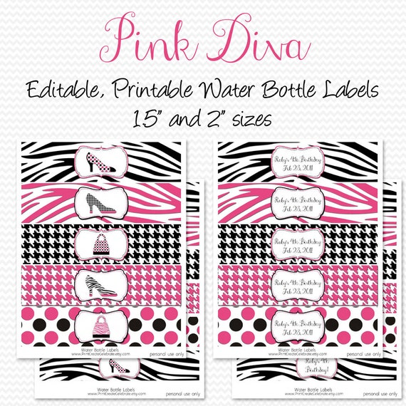 Water bottle labels pink diva zebra print party decorations birthday party favors party decor editable printable instant download from