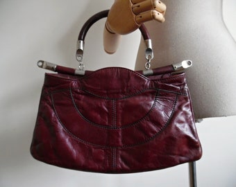 PAGODA VIBES . Oxblood Burgundy Genuine Leather Convertible Bag Dettachable Strap Top Handle Shoulder Bag 70s