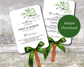 Greenery Fan Program Template, Woodland Fan Wedding Program, Ceremony Program, Printable Wedding Program, Editable Wedding Program 075