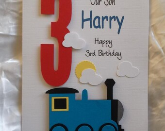 Train birthday card etsy personalised 1st 2nd any age train birthday card son grandson godson nephew bookmarktalkfo Image collections