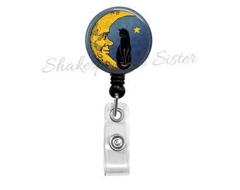 Black Cat Sitting on Moon Badge Reel - Retractable ID Holder - Nurse Badge Reel - Moon Badge Reel