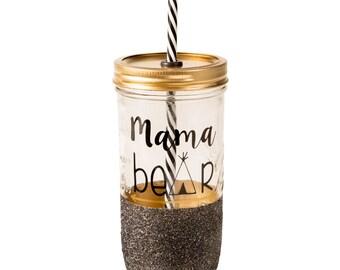 Mama Bear // Glitter Tumbler // 24oz Mason Jar // Glass Tumbler // Wineglass // Mama