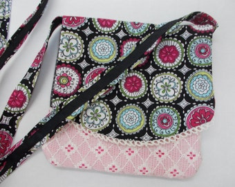 Pink, Black and Lace Neck Purse