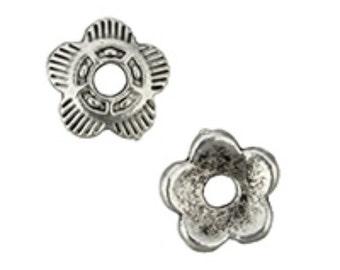 30pc 6mm antique silver finish metal bead caps-7228i