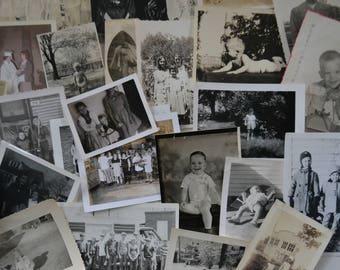 Vintage Ephemera Black White Photos Pictures Children Kids - Lot of Random 20 Photos