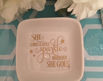She Leaves a Little Sparkle Wherever She Goes Jewelry Dish/Swarovski Crystals