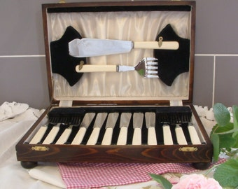 Set of cream handled vintage fish knives and forks with servers boxed in wooden box silver colour staybright steel
