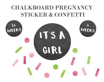 Pregnancy Sticker - Reusable Chalkboard and Confetti