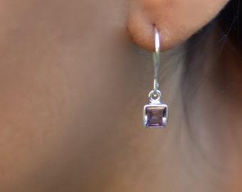 Amethyst Earring Silver Amethyst Earring Genuine Amethyst Jewelry Natural Gemstone 925 Amethyst Dangle Drop Earring February Birthday Gift