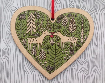 Dear deer wooden heart