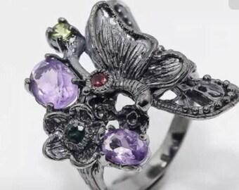 Amethyst Butterfly ring