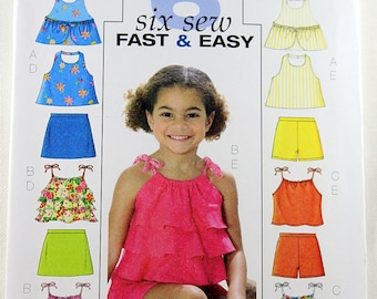 Butterick 4503, Childs' Top, Skort and Shorts Sewing Pattern, Children's Patterns, Sewing Pattern, Childs' Sizes 2, 3, 4, 5, Uncut