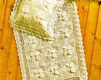 Instant PDF Digital Download Vintage Knitting Pattern to make Blanket and Pillowcase/ Double Knitting/ Blanket/Afghan/ Pattern – A369