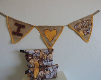 I Love Cats Burlap Banner and Multi-use Bags