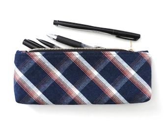 Pencil Case Zipper Pouch Blue Plaid