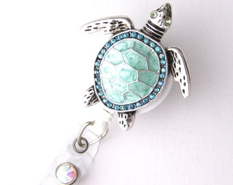 Sea Turtle Bling - Pretty Badge Holder - Unique Badge Reels - Stylish ID Badge Clip - Nurse Jewelry - Shiny RN Badges - BadgeBlooms
