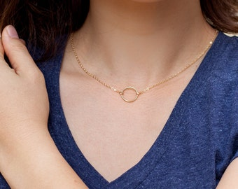 Simple Necklace Gold Circle  Ring Necklace, 14k Gold Fill or Sterling Silver, Linked Rings Dainty Minimalist everyday delicate