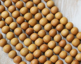108 Beads 7mm Authentic fragrant sandalwood Beads Round Yoga Jewelry Supply from India Wood Beads Real Wood Rustic Wood