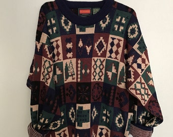 Vintage Oversized Print Sweater