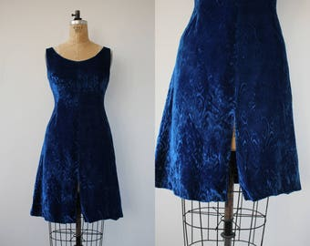 vintage 1960s dress / 60s blue velvet dress / 60s crushed velvet dress / 60s swirled velvet party dress / 60s holiday dress / small medium