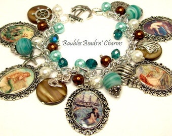 Mermaid Charm Bracelet Jewelry, Ocean Beach Charm Bracelet Jewelry, Photo Charm Bracelet, Beaded Charm Bracelet