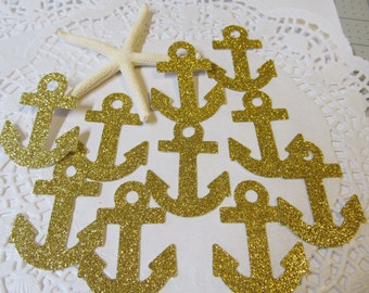 Gold Glitter Anchor Die Cuts - Confetti  -  12 ct Package - Nautical - Cardmaking - Scrapbooking  - Weddings - Birthdays - Baby Showers