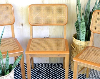 Vintage Dining Chairs, cane, wood, retro, oak, midcentury, bamboo, set of three