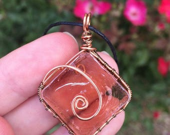 wire wrapped pendant / red brown glass square / copper wire / adjustable cord / birthday / steampunk / unisex necklace / gift / woven wire