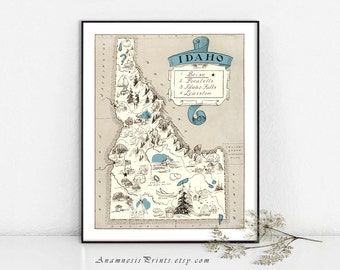 IDAHO PICTURE MAP - size & color choices - personalize it - vintage pictorial map to frame - perfect wedding or housewarming gift - wall art